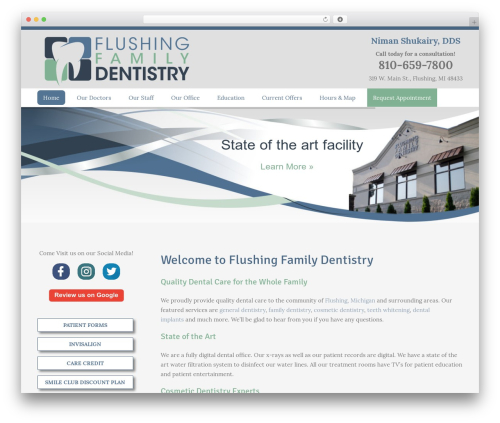 Avada theme WordPress - flushingdental.com