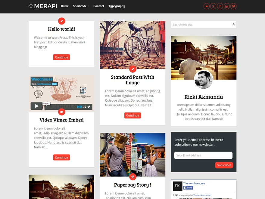 Merapi WordPress blog template