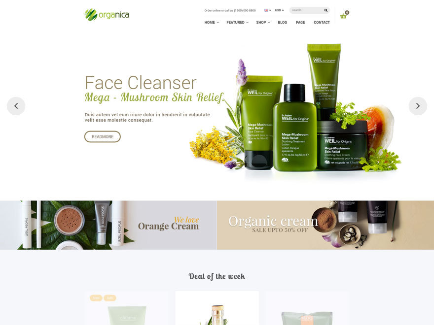 Organica WordPress shopping theme