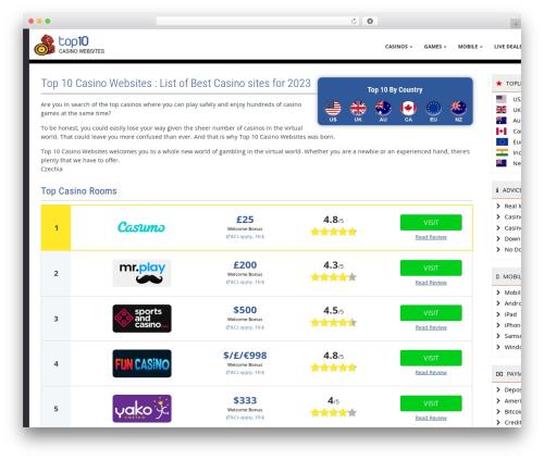 Free WordPress Page-list plugin - top10casinowebsites.net