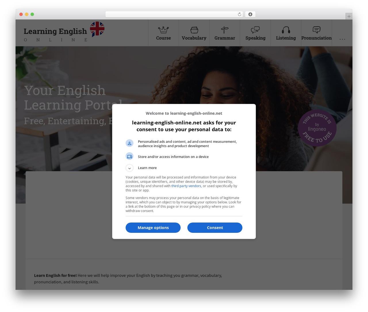 Learn Online best WordPress template - learning-english-online.net