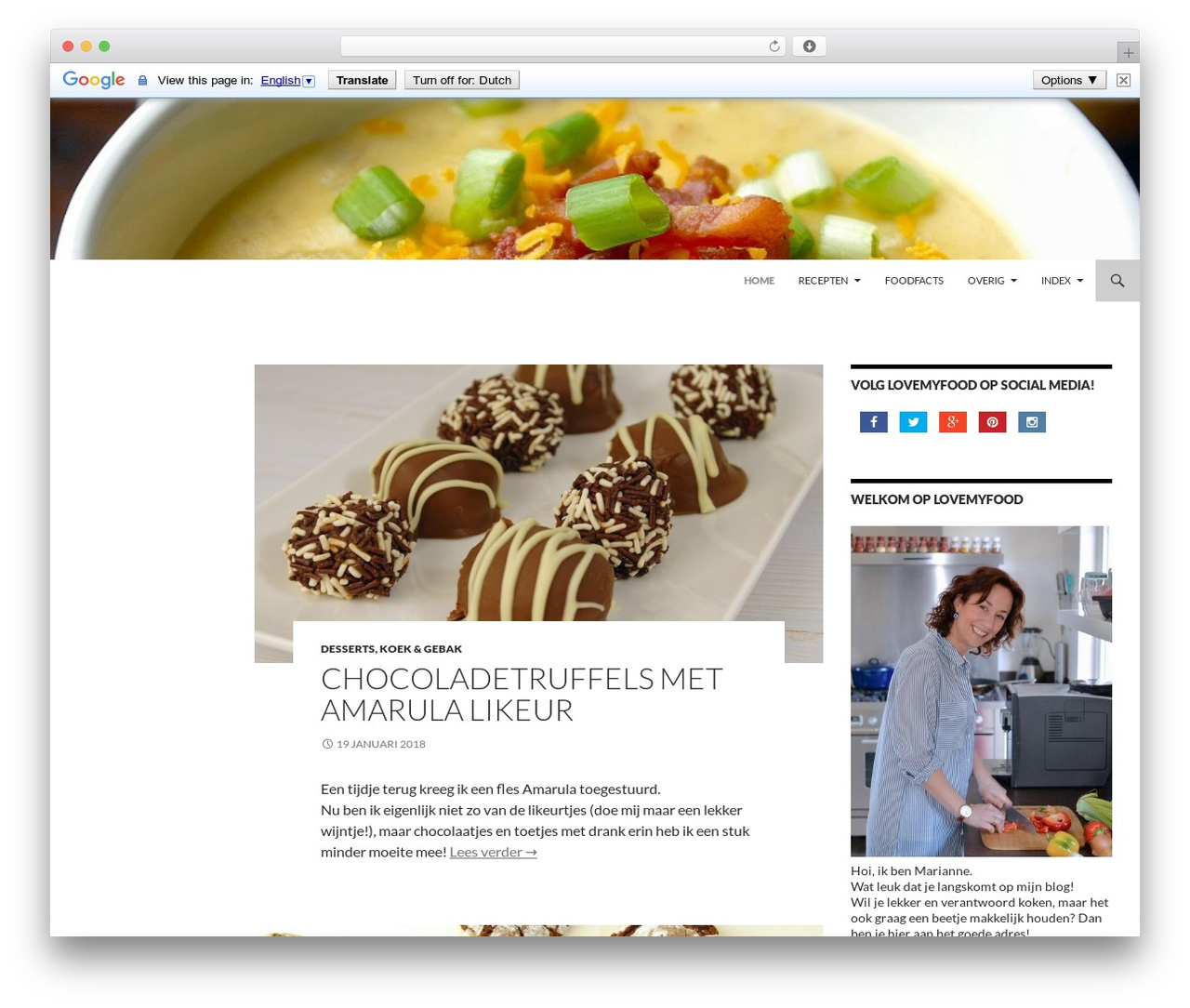 Twenty Fourteen free website theme - lovemyfood.nl