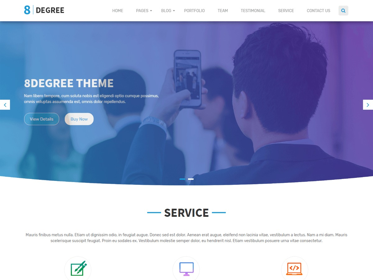 Eight-Degree company WordPress theme
