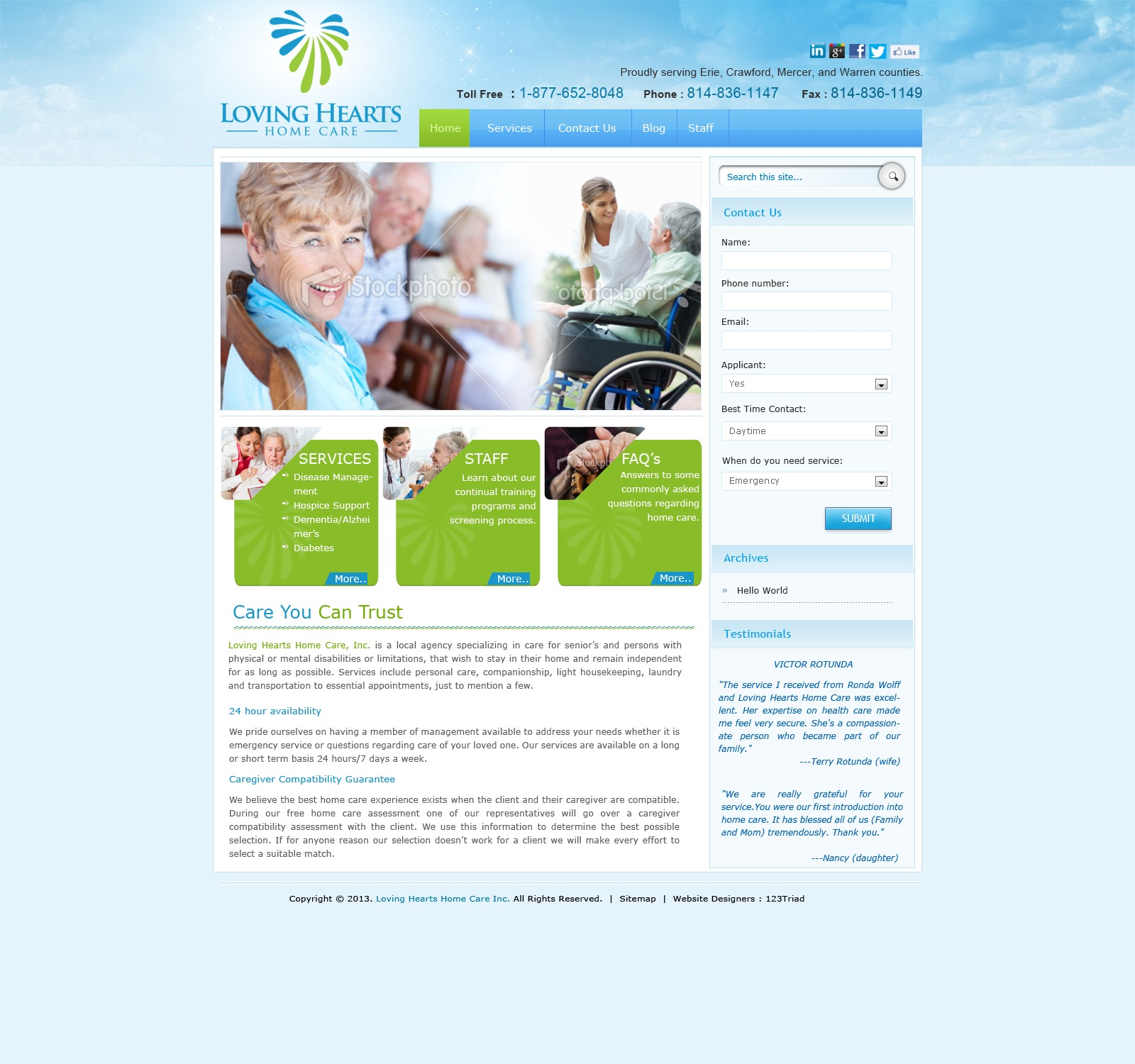 WordPress theme Loving Hearts Home Care