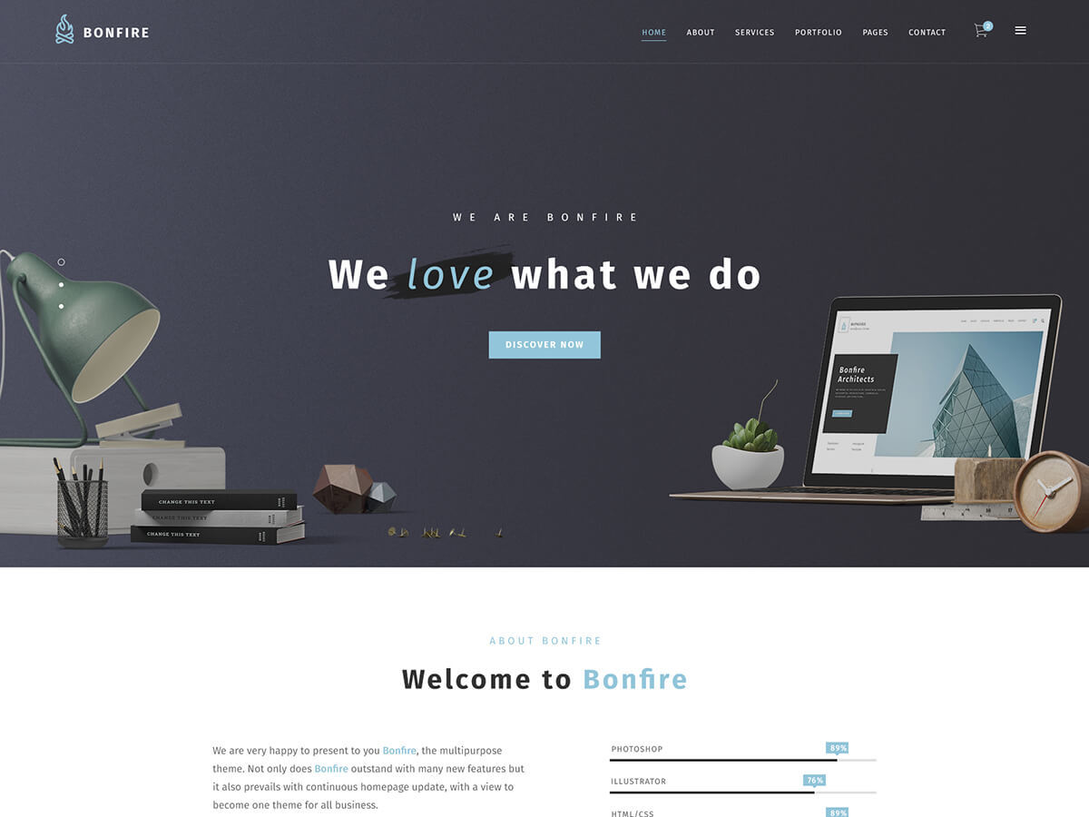 Bonfire WordPress page template