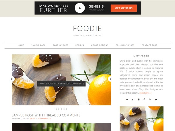Foodie Child Theme - Customized for Nourish Kitchen food WordPress theme
