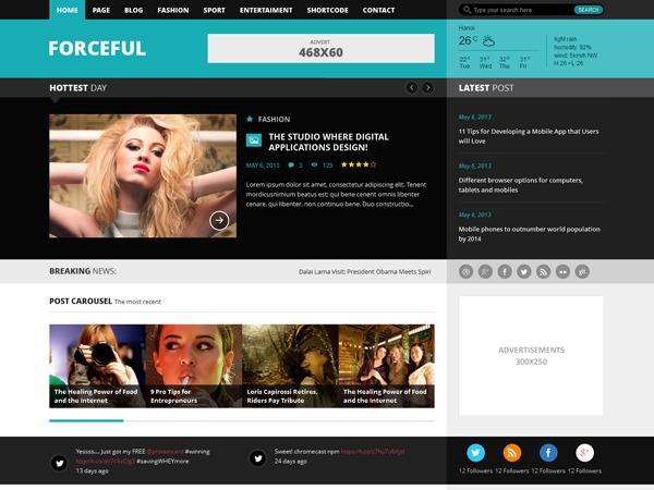 Forceful WordPress magazine theme