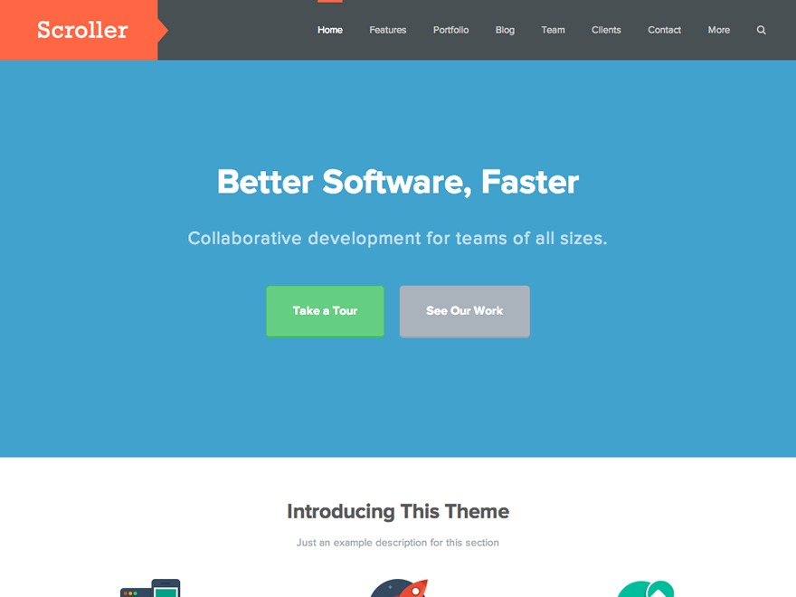 Scroller WordPress template for business