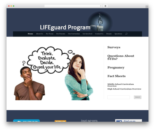 Divi premium WordPress theme - lifeguardprogram.org