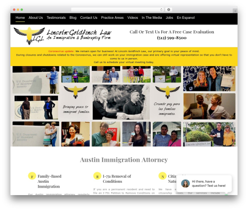 Law business company WordPress theme - lincolngoldfinch.com