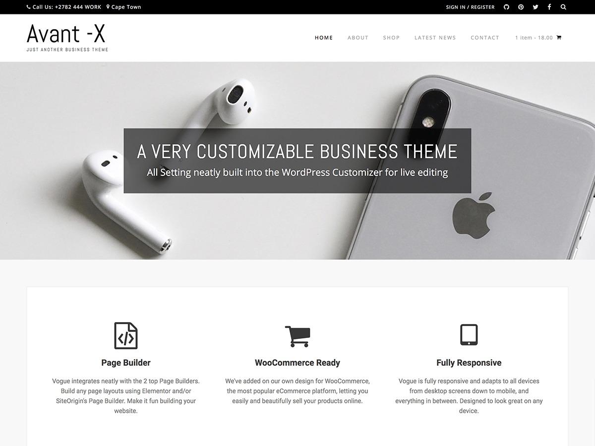 Avant-X WordPress ecommerce template