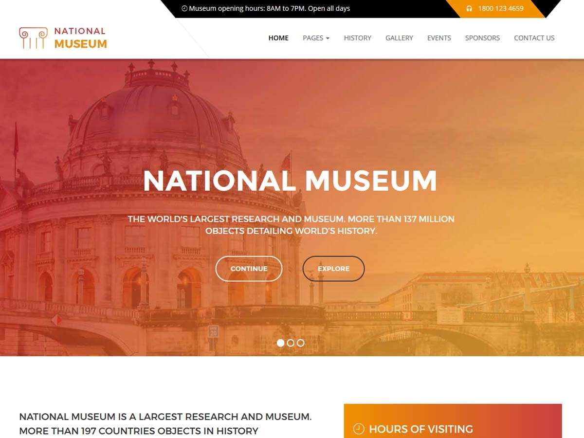 Museum WordPress page template