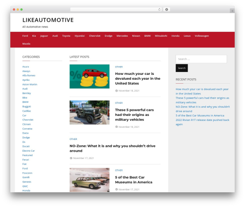 Telescope free WordPress theme - likeautomotive.com