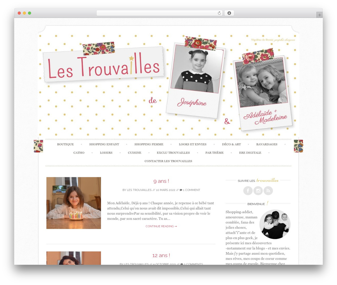 WordPress website template Sugar and Spice - lestrouvaillesdejosephine.fr