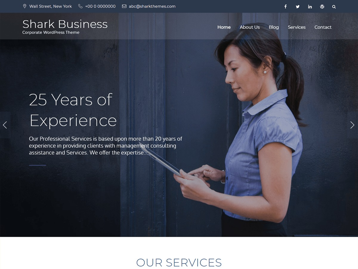 Shark Business company WordPress theme