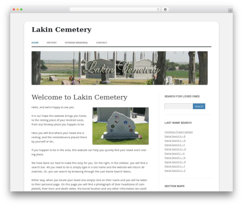 WordPress theme 2012 Child Theme - lakincemetery.com