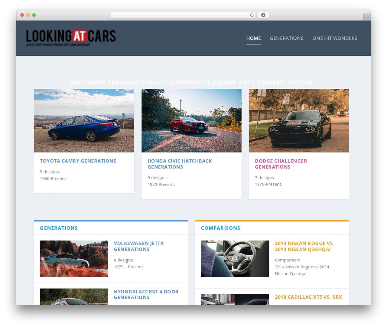 Extra WordPress theme - lookingatcars.com