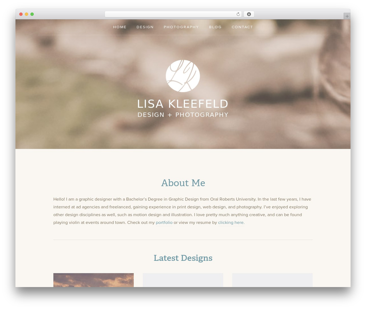 Padhang photography WordPress theme - lisakleefeld.com