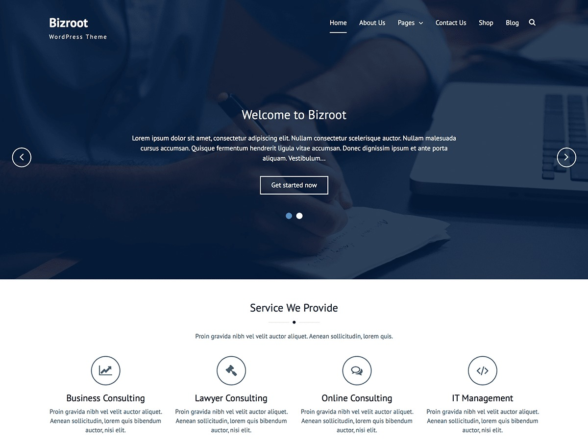 Bizroot free WordPress theme