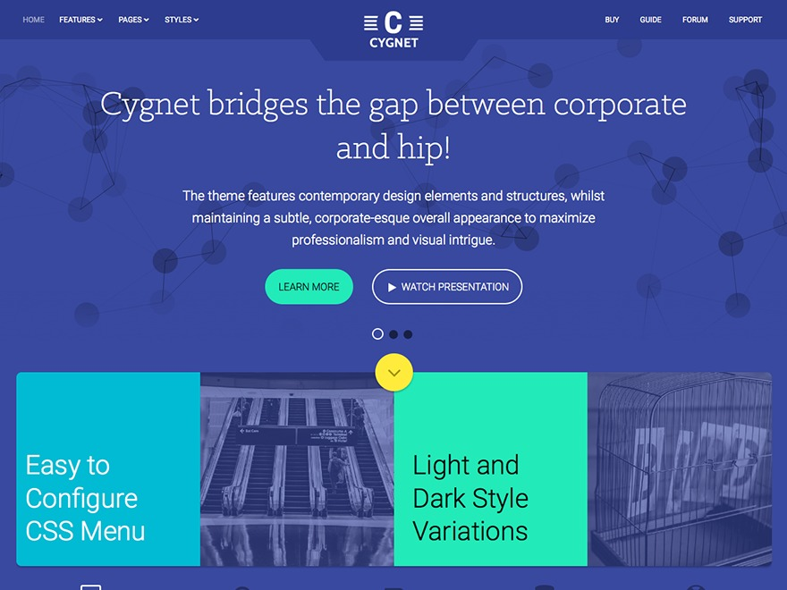 Cygnet WordPress page template