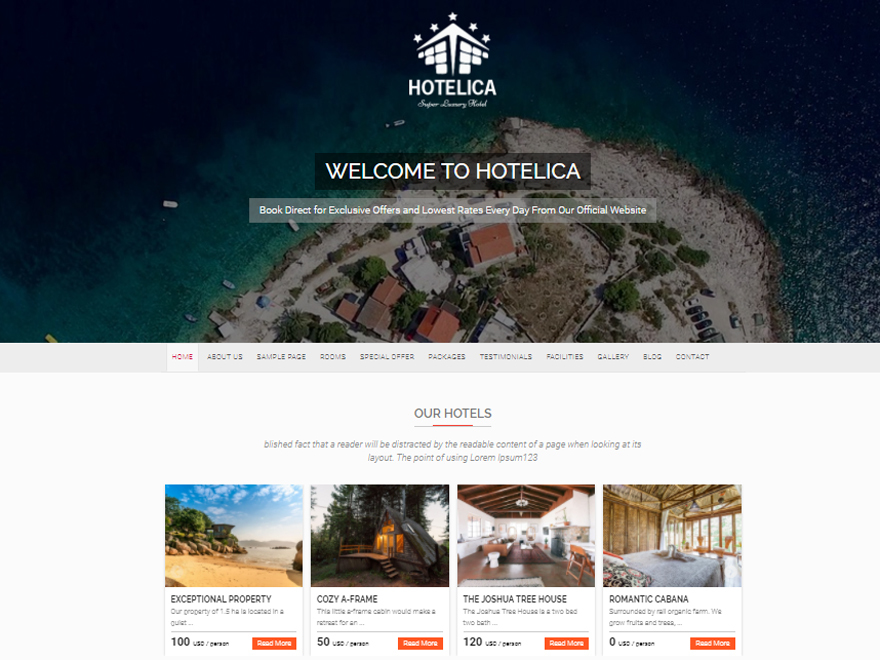 Hotelica best free WordPress theme