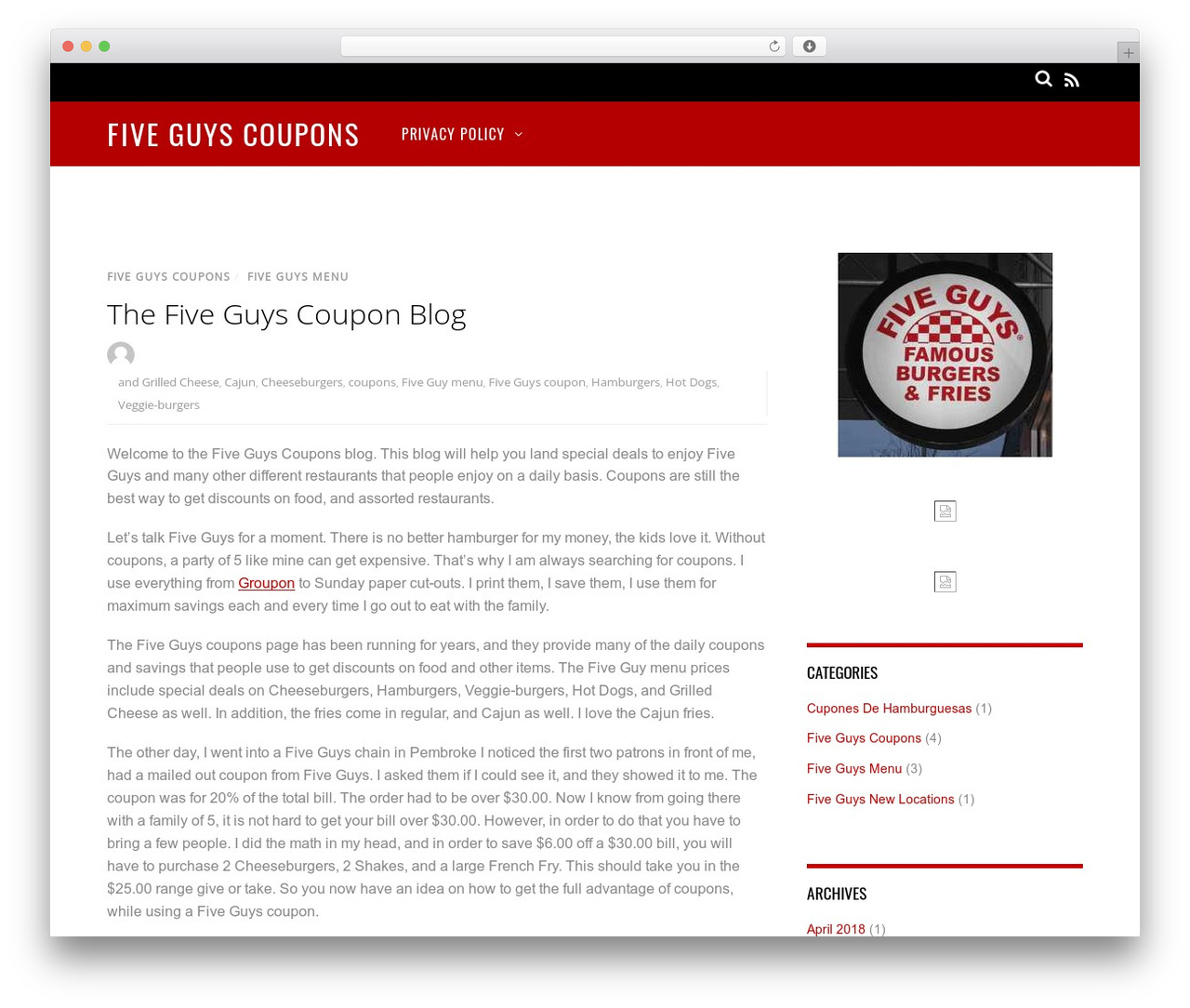 photo relating to Five Guys Printable Menu titled Journal WP topic through Themify -