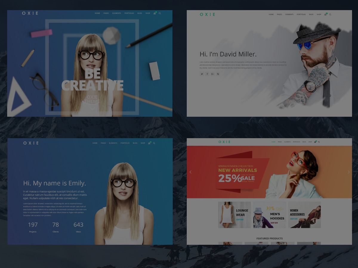 Oxie WordPress blog template