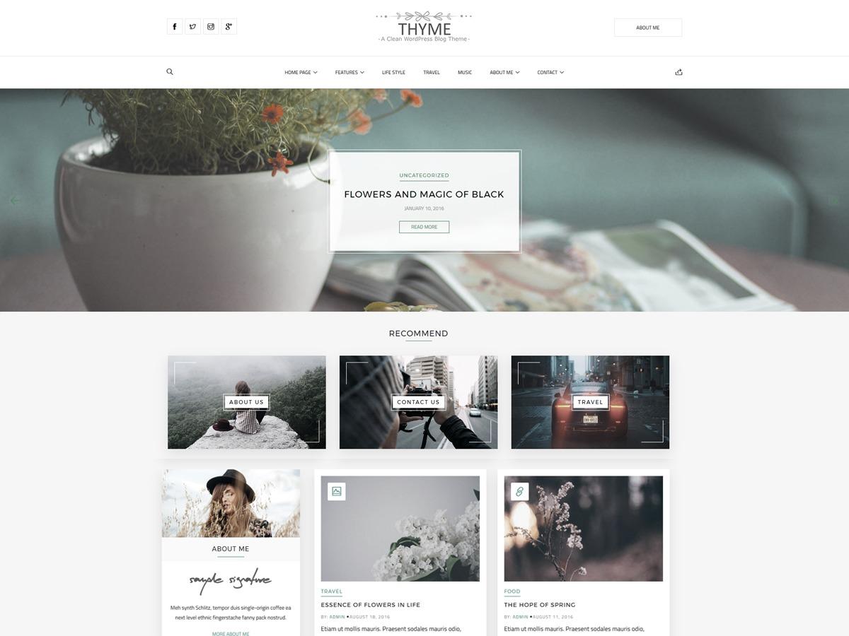 Thyme WordPress blog theme