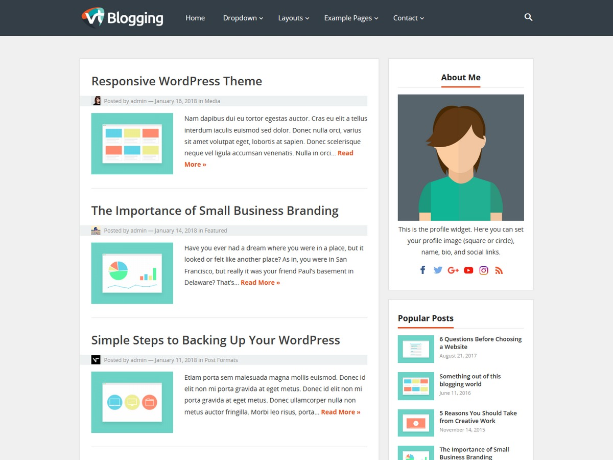 VT Blogging WordPress blog theme