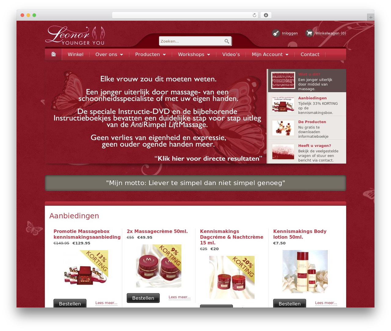 Bellissima WordPress website template - leonoryoungeryou.nl