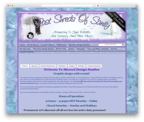 WP-Ellie ACTIVE WordPress landing page - lastshredsofsanity.com/skewed-design-studios