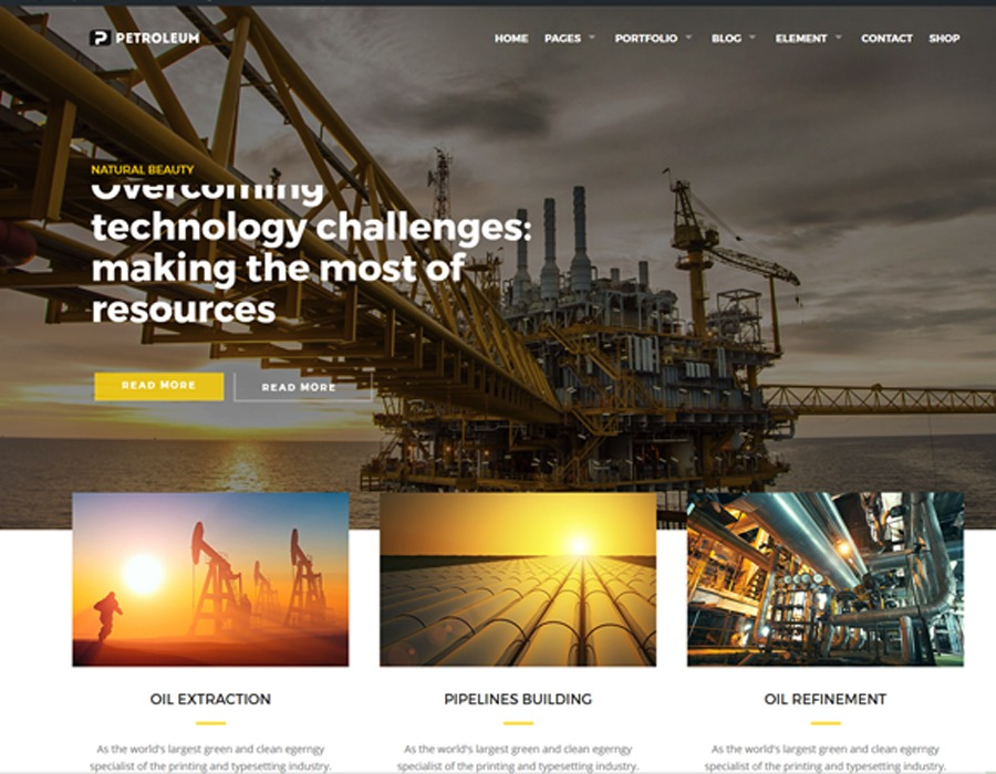 Petroleum business WordPress theme