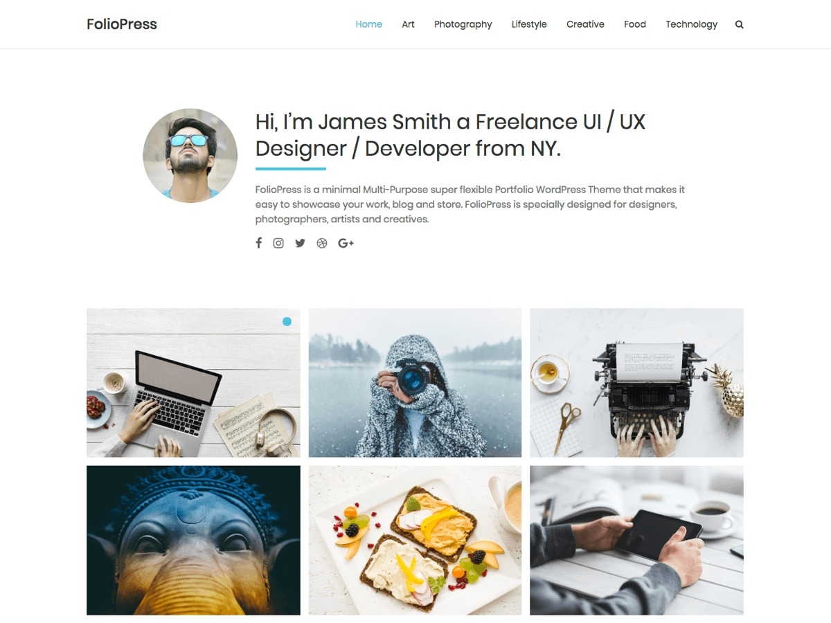 Foliopress WordPress portfolio theme