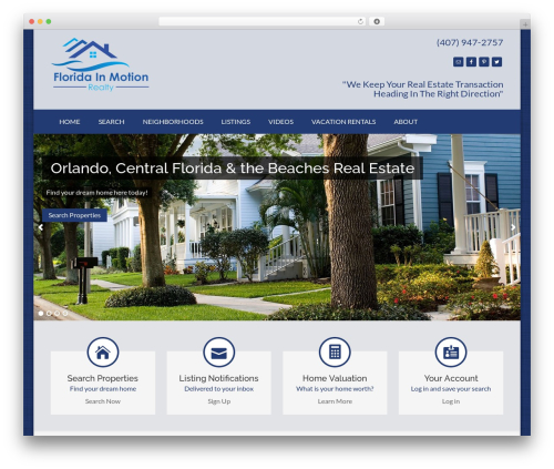 IDXCentral real estate template WordPress - floridainmotionrealty.com