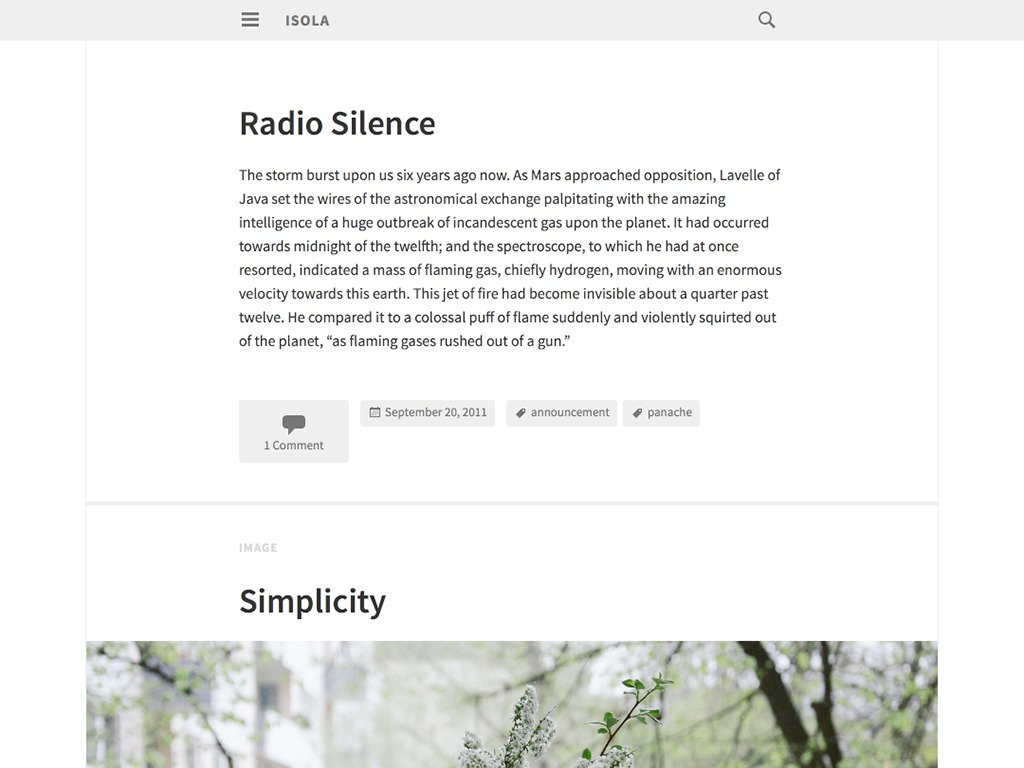 Isola WordPress movie theme