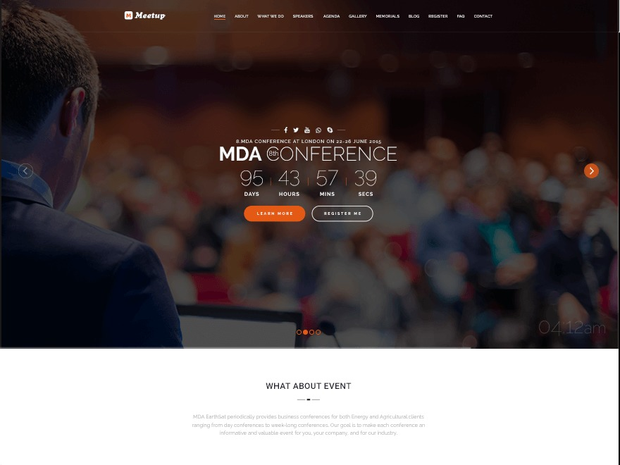 Maniva Meetup WordPress template for business