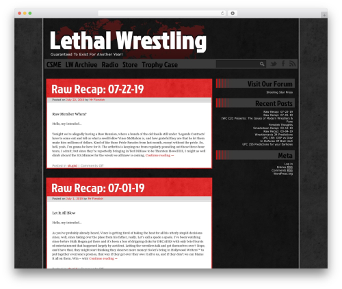Ping WordPress website template - lethalwrestling.com