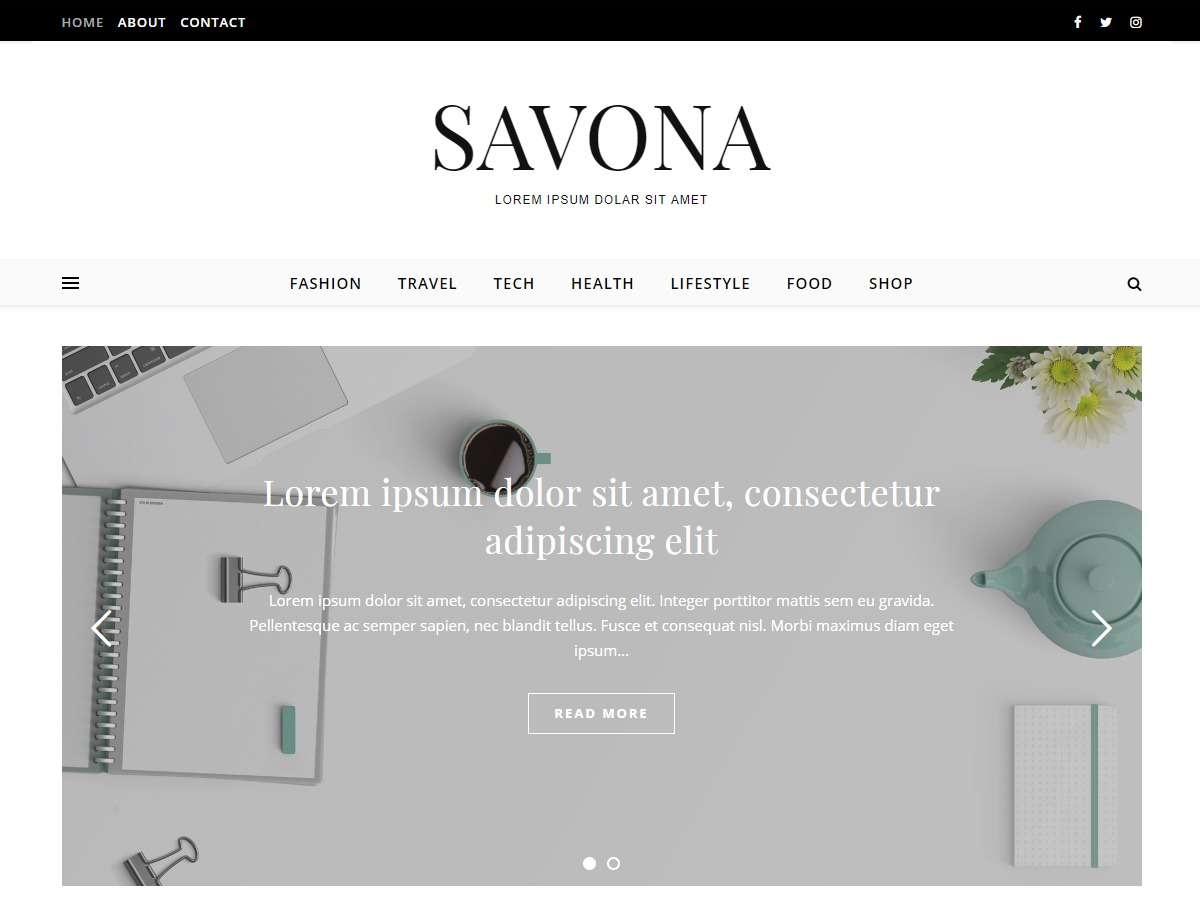 Savona WordPress blog theme