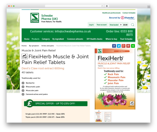SchwabeEcommerse_Redesign WP theme - schwabepharma.co.uk/product/flexiherb-muscle-joint-pain-relief-tablets