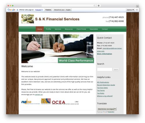 Customized company WordPress theme - sandkfinancialservices.com