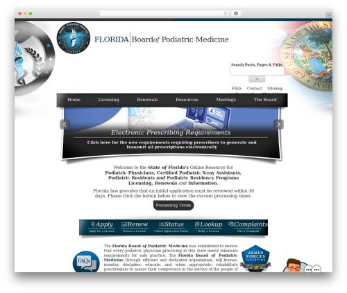 Best WordPress template Florida Department of Health - Florida Board's Theme - floridaspodiatricmedicine.gov