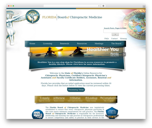 Florida Department of Health - Florida Board's Theme best WordPress template - floridaschiropracticmedicine.gov