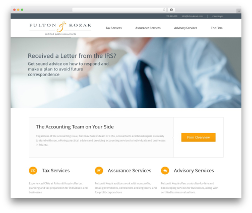 Law business WordPress theme design - fulton-kozak.com