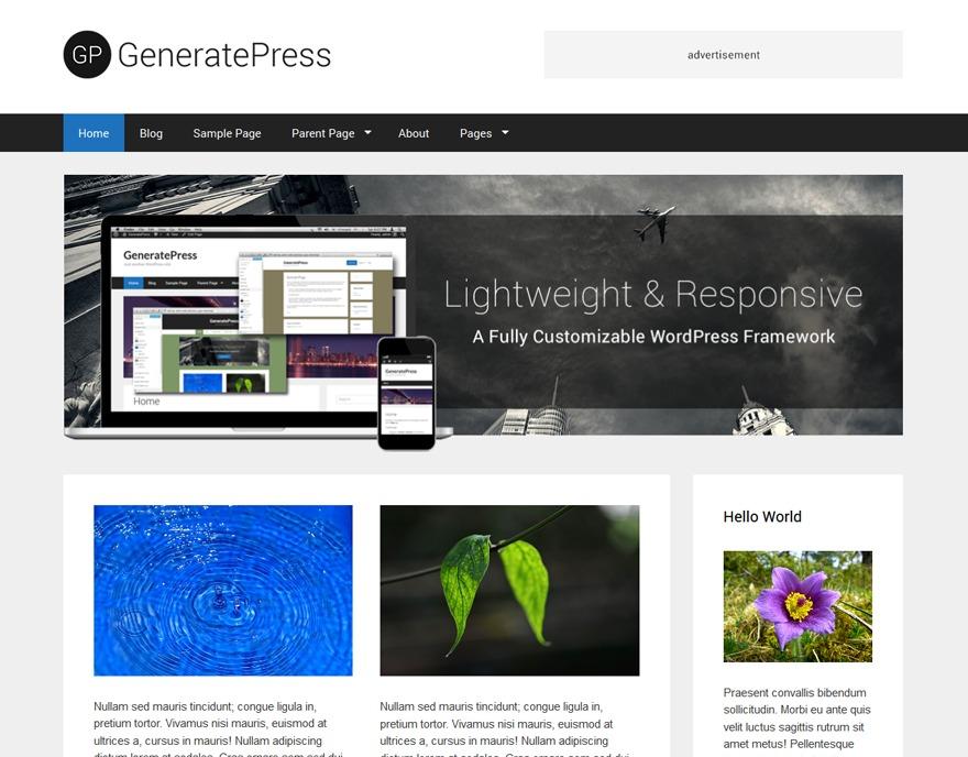 WordPress template GeneratePress