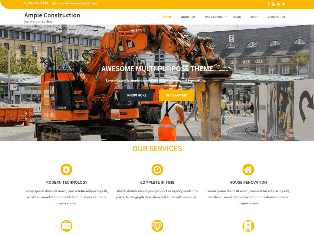 Ample Construction WordPress shopping theme