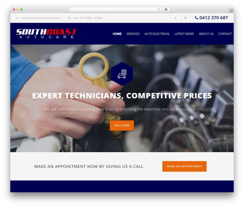 Carservice WordPress shop theme - southcoastautocare.com.au