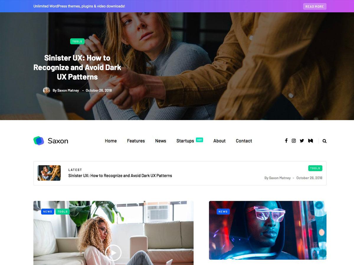 Saxon top WordPress theme