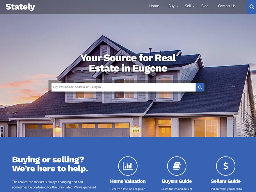 Stately real estate template WordPress