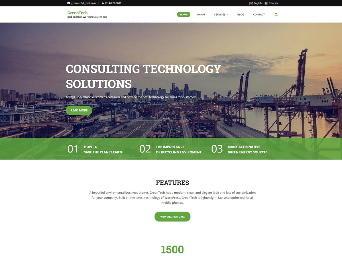 GreenTech Lite business WordPress theme