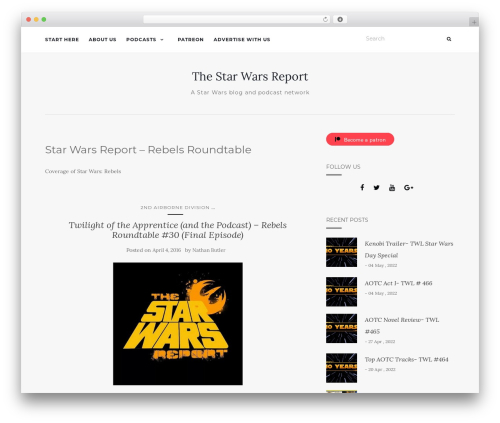 Best WordPress template Activello - starwarsreport.com/category/the-swr-rebels-roundtable